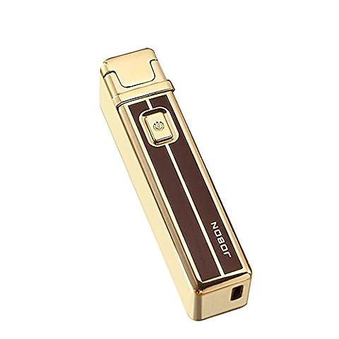 Jobon ZB-829 Briquet à arc électrique rechargeable USB, Gold with brown, 8.1*1.8*2.1CM