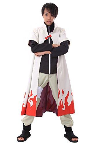 y Costume Hidden Leaf Village Yondaime Hokage Blank Cloak Robe V2 (Minato Hokage Kostüm)