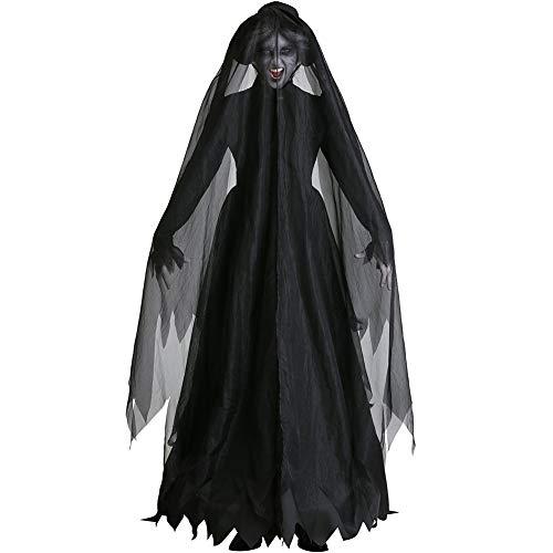 JNTM Halloween-Kostüm Böse Königin Cosplay Kleid Lange Vampir Umhang Mit Kapuze Kostüme Halloween Abendkleid Nightclub Rave-Partykleid, Cosplay Halloween Weibliches - Vampir Kostüm Weiblich