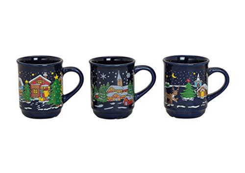 MC-Trend 3er Set Glüweintassen Glühweinbecher Becher Tassen - Der Klassiker - Nachtblau mit traumhaften Wintermotiven Weihnachten Weihnachtsmarkt Gastro Catering Feier