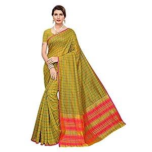 Yashika Women's Kanchipuram Cotton Silk Saree With Blouse Piece