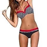 Jaminy Strandmode Bikini Set Frau Bikini Badeanzug Bikini Strandkleidung Bademode Badeanzug Bikini-Set Badeanzug S-XL (Rot, M)