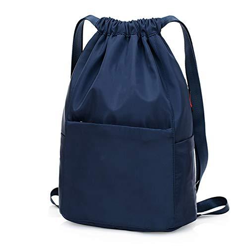 Nosterappou Männer und Frauen wasserabweisendes leichtes Nylon Tuch Sport Reisen Oxford Tuch Kordelzug Strahl Tasche Rucksack große Kapazität Rucksack (Farbe : Dunkelblau)