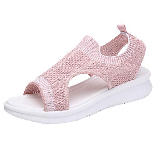 UOWEG Keile Sandalen für Damen Open Toe atmungsaktiv Komfort aushöhlen Casual Wedges Mesh Schuhe Sandalen Pink Patent Plattform