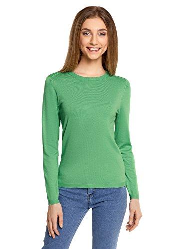 oodji Collection Damen Langarm-Pullover mit Rundem Ausschnitt, Grün, DE 38 / EU 40 / M