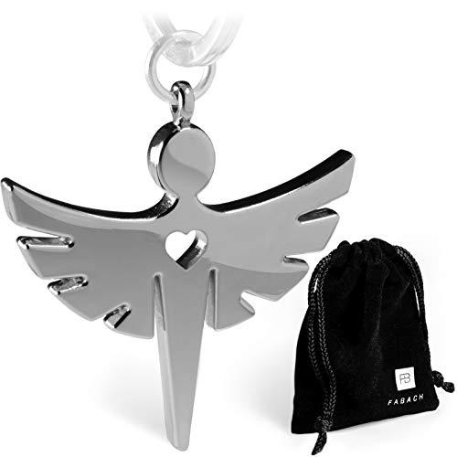 elanhänger mit Herz - Edler Engel Anhänger aus Metall in glänzendem Silber - Glücksbringer Geschenk für Auto, Führerschein - FABACHTM ()