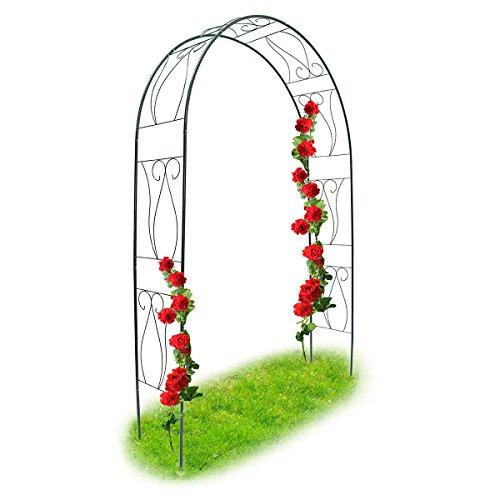 Relaxdays Rosenbogen und Rankhilfe mit Gitter als Kletterhilfe für Kletter-Rosen oder Rankgitter Torbogen aus pulverbeschichtetem Stahl als Rosenspalier, dunkelgrün