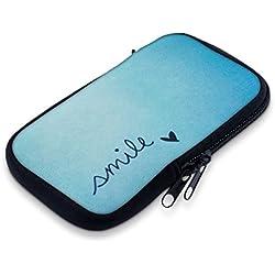 """kwmobile Funda Universal para móvil de M - 5,5"""" - Estuche de [Neopreno] con [Cierre] - Carcasa con diseño Smile y corazón"""