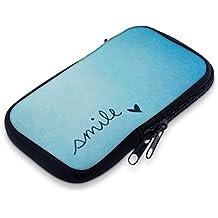 """kwmobile Funda de neopreno para móvil para smartphones M - 5,5"""" - Funda para smartphone carcasa protectora con Diseño Smile azul turquesa - compatible por ej. con Samsung, Apple, Wiko, Huawei, LG, Sony, HTC, OnePlus, ZTE"""