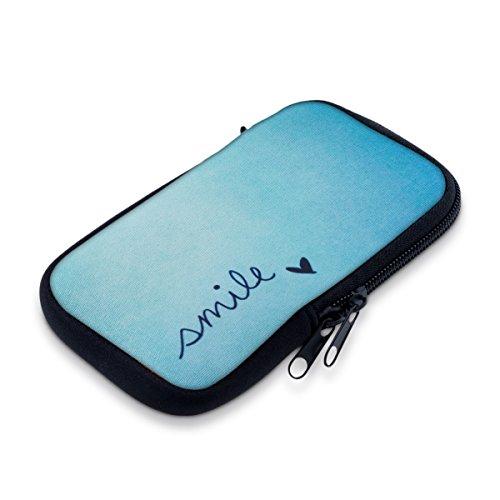 """kwmobile Handytasche für Smartphones M - 5,5\"""" - Neopren Handy Tasche Hülle Cover Case Schutzhülle - Smile Design Blau Türkis - 15,2 x 8,3 cm Innenmaße"""