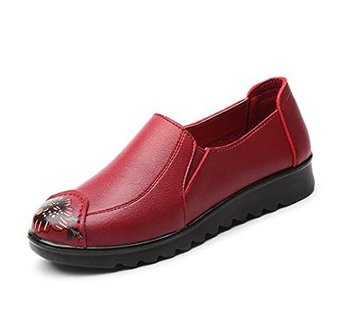 Damen Flats Single Schuhe Neue Freizeit Loafer Komfort Künstliche PU Pumpen Anti-Rutsch Soft Bottom Schwarz Red Herbst Frühling Party Work , Red , EUR 36/ UK 3.5-4