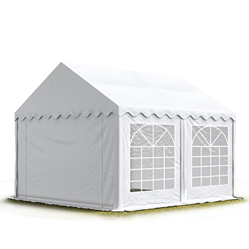 Toolport tendone per feste 4x4 m pvc bianco 100% impermeabile gazebo da giardino tendone da esterno tenda party