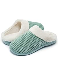 bc4c8d4f1923 Senbore Womens Fleece Lined Slippers Anti-Skid Indoor Memory Foam Warm House  Cosy Shoes