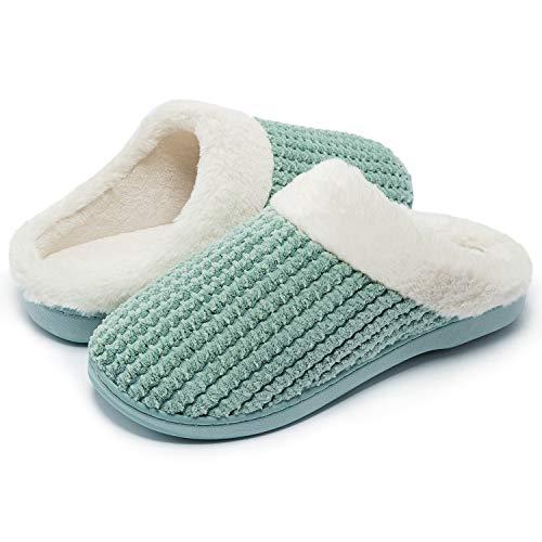 Kuako Womens Fleece Lined Slippers Anti-Skid Indoor Memory Foam Warm House Cosy Shoes