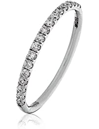 0.25CT Certified G/VS2 Round Brilliant Cut Claw Set Half Eternity Diamond Ring in 18K White Gold