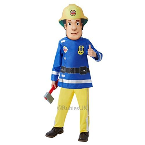 Jungen Feuerwehrmann Sam Feuerwehrmann + Maske & Axe Buch Tag Cartoon Halloween Kostüm Kleid Outfit - Blau, Größe (Cartoon Halloween Kostüme)