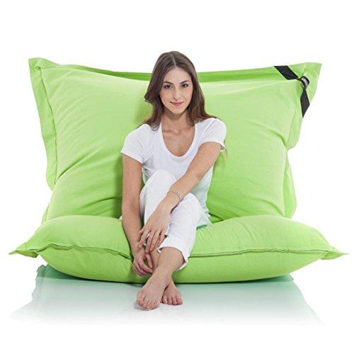 Manitou INDOOR Sitzsack GRÜN - 100% Baumwolle - 180 cm x 140 cm - Inhalt 500 Liter - Made in Germany - abziehbarer Bezug - 30 Jahre Garantie