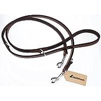 [Gesponsert]Schnüffelfreunde Hundeleine aus Leder - Trainingsleine 3-Fach Verstellbar (230cm, Braun)