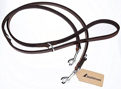 Schnüffelfreunde Hundeleine aus Leder - Trainingsleine 3-Fach verstellbar (230cm, Braun)