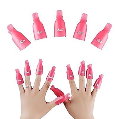 Cheap4uk 10Pcs Plastic Acrylic Nail Art Soak Off Clip Cap UV Gel Polish Remover Wrap Nail Tool£¨Purple)