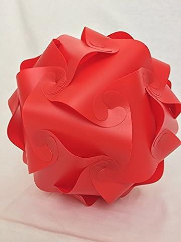 Puzzle Lampe Lampenschirm IQ Lampe Design Lampe Dekoration Lampe Puzzle Lampe Selbstmontage Fun, Kunststoff, rot, M