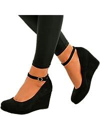 Cucu Fashion 2017marca Ladies Womens Cuña Bombas Zapatos De Correa De Tobillo Partido Tacones altos Plataforma Tamaño UK