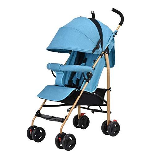 Vierrädrige Kinderwagen können sitzen schlafen Kind Kinder Trolley Stoßdämpfer Regenschirm faltbare Kinderwagen Buggys tragbare Kinderwagen Kinderwagen ( Color : Blue , Größe : 24.8*18.89*42.12inchs )