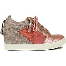 55ef28816a4 Sneaker con cuña Interior de Colores Metalizados con Adorno de Cremallera y  Cordones. Altura de