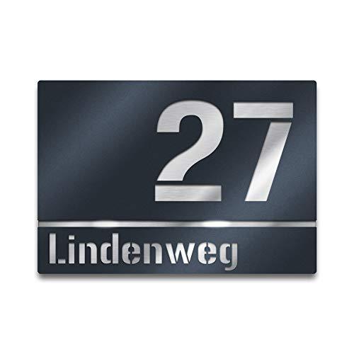 Moderne Hausnummer Edelstahl-Platte - Anthrazit RAL 7016 - Schild mit Nummer und Straßenname - inkl. Gravur-Service