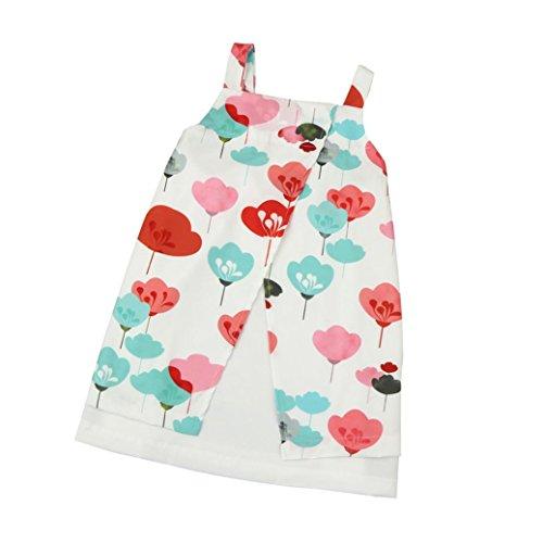 Perlen Knielangen Rock (Kleinkind Kinder Baby Mädchen Kleid Sommer Kleider Blumen Party die Röcke_Hirolan (120cm, Rot))