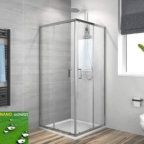 Duschkabine Eckeinstieg 75x90cm Duschabtrennung Schiebetür, Duschwand Glas Duschtür 6mm ESG Sicherheitsglas mit Nano-Beschichtung Höhe 195cm Alu Vollrahmen