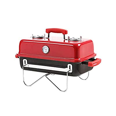 CjnJX-Picknickgrills Camping Barbecue Grill, tragbare Faltauto Holzkohlegrills Gartenterrasse Barbecue Grill Schwarz/rot
