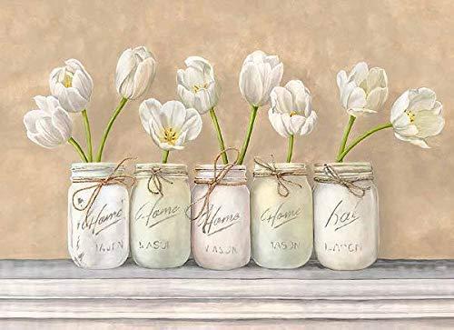 Rahmen-Kunst Keilrahmen-Bild - Jenny Thomlinson: White Tulips in Mason Jars Leinwandbild Tulpen Blumen Vasen Töpfe Shabby Chic (Blumen Mason In Jars)
