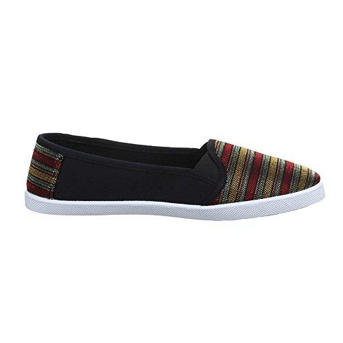 Ital-Design Damen Schuhe, C27-9, Halbschuhe Slipper Schwarz