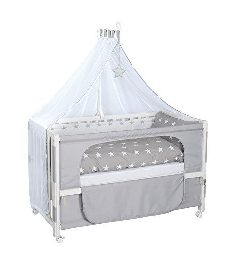 roba Lit d'allaitement, lit bébé 60x120cm laqué en blanc, 'Little Stars', fixation au lit parental possible, avec équipement complète.