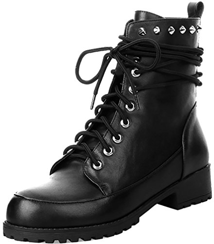 ELEHOT Donna Eleexcite tacco western 3.5CM Leather Stivali, nero,