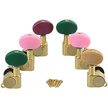 BQLZR Golden clavijas de guitarra acústica 3L3R con botón de Multi-color