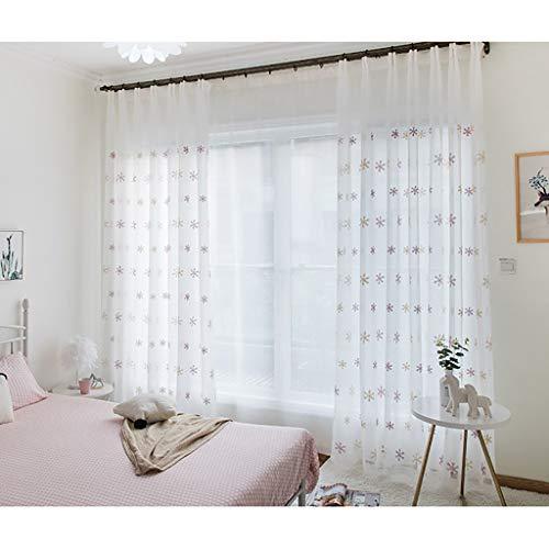 Schneeflocke Stickerei Schiere Voile Vorhänge, Faux Leinen texturierte Vorhänge, Set 2 Vorhang Panels, Tülle Vorhänge, verträumte Fensterscheiben für Schlafzimmer, Mädchen Zimmer, 106