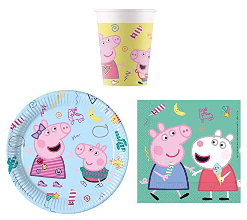 JT Lizenzen Party-Geschirr Set Peppa Pig - Kinder-Geburtstag - Teller Becher Servietten (16 Personen) (Marienkäfer Kindergeburtstag Dekoration)