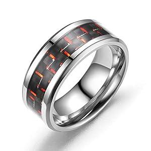 Amody Gothic Titan Ring für Herren 8MM Polierte Ringeinlage aus Kohlefaser Herren Ringe Gothic Größe 52 (16.6)-67 (21.3)