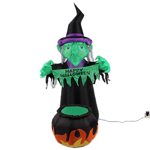 Aufblasbar Grün Hexe Grün Geist Kürbis LED Beleuchtung Luftdurchlässig Kriecher Halloween Hof Kunst Dekoration