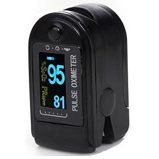 AVAX AV-50D - Fingerpulsoximeter (Finger Pulse Oximeter) - %SpO2 (Sauerstoffsättigung des Blutes) & Herzfrequenzmesser mit LED-Anzeige und Zubehör - SCHWARZ