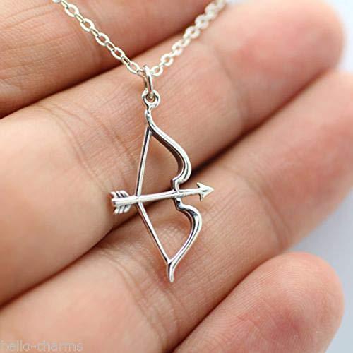 LBZDR Halskette Silber überzogene Pfeil Bogen Anhänger Halskette Shellhard Hohl Choker Langkettige Halsketten Für Frauen Mädchen Modeschmuck
