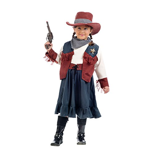 Cowgirl Annie Kostüm Kinder 5tlg Rock Bluse mit Weste Gürtel Tuch Hut zum Fasching - 9/11 (Kostüme Kinder Für Annie)