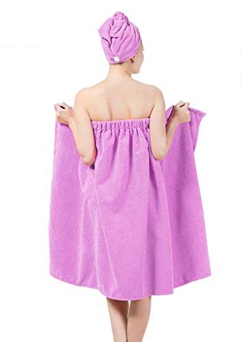 Peignoir De bain Robe de Chambre Robe de Plage en Velours Doux Agréable en Polyester avec un Bonnet à Séchage Rapide Taille Unique avec l'élasticité très Absorbant Léger Multifonctionnel Violet