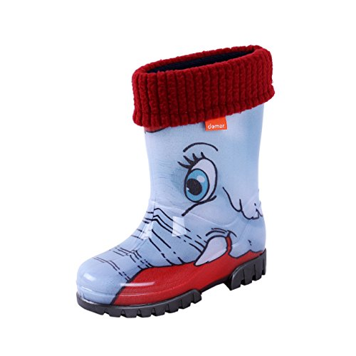 Demar Boys Girls Wellington Boots Rain Snow Wellies Liners Elephant
