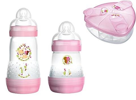 MAM Set - Anti Colic Flasche 160ml & 260ml Sauger Gr.1 & Milchpulverspender für Mädchen