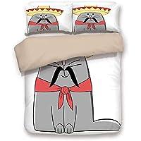 Ensemble housse de couette, chat, illustration moderne de chaton latino  avec mascotte Artsy moustache 76d2ff8a518c