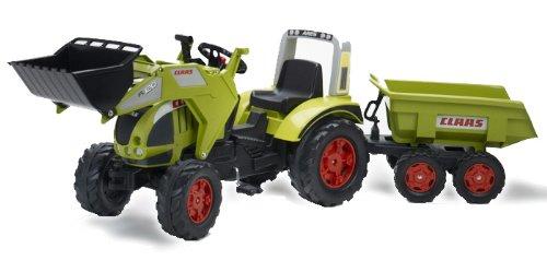 Claas Trettraktor Falk-991p-Fahrrad Und Fahrzeug für Kinder-Traktor Claas Ares + Schaufel + Anhänger Maxi 4Räder GM