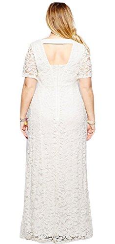 Ghope Femme Elegant Dentelle Formelle Party Lace Ceinture dos nu Longue Robe De Soiree Maxi Cocktail balle Blanc